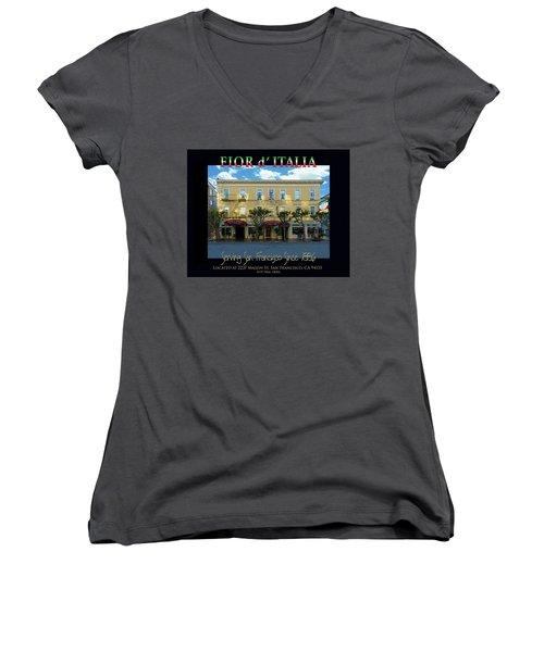 Fior D' Italia Since 1886 Women's V-Neck T-Shirt (Junior Cut) by Robert J Sadler