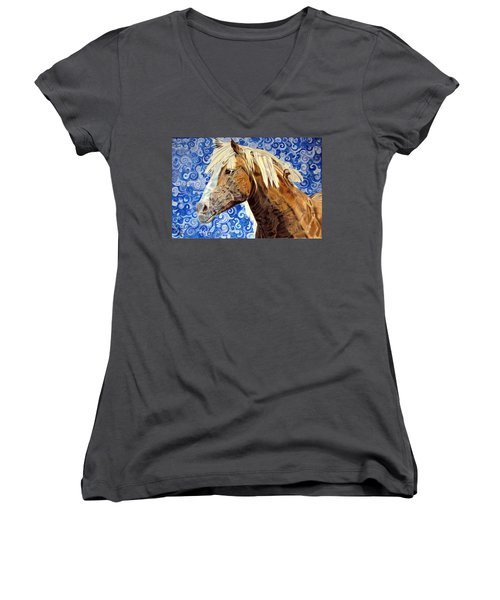 Women's V-Neck T-Shirt (Junior Cut) featuring the drawing Fiosa by Melita Safran