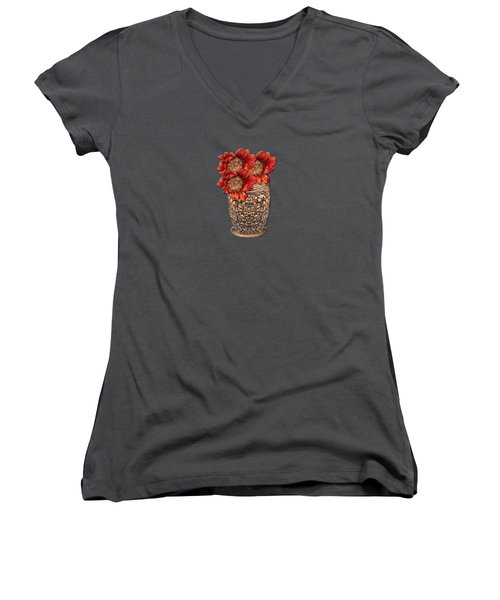 Fire Brick Flora Vase Women's V-Neck