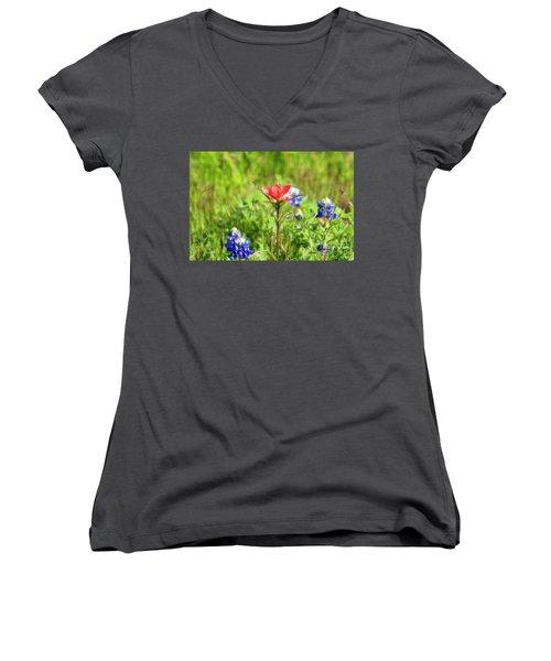 Fire Cracker Women's V-Neck T-Shirt (Junior Cut) by Joan Bertucci