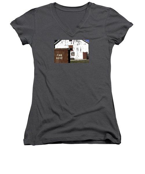 Fire Hose Women's V-Neck T-Shirt (Junior Cut) by Lora Lee Chapman