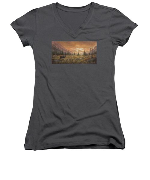 Women's V-Neck T-Shirt (Junior Cut) featuring the painting Fire In The Sky by Kim Lockman