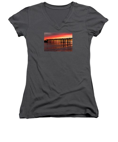 Women's V-Neck T-Shirt (Junior Cut) featuring the photograph Fire In The Sky by Lora Lee Chapman