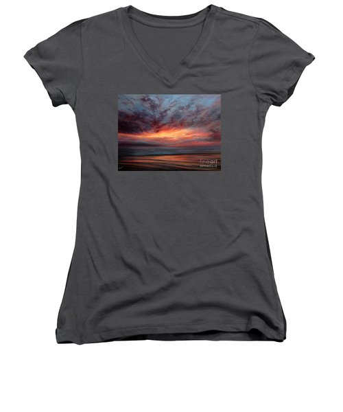 Fire In The Sky Women's V-Neck T-Shirt (Junior Cut) by Valerie Travers
