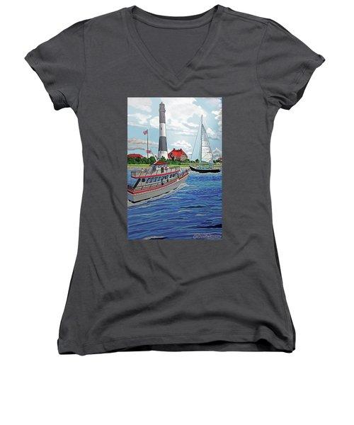 Fire Island Lighthouse Women's V-Neck T-Shirt