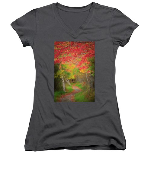 Women's V-Neck T-Shirt (Junior Cut) featuring the photograph Fire Red Path  by Emmanuel Panagiotakis