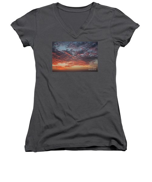 Fire Sky Women's V-Neck T-Shirt (Junior Cut) by Ana Mireles