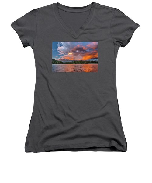 Fire Sunset Over Shasta Women's V-Neck T-Shirt (Junior Cut) by Greg Nyquist