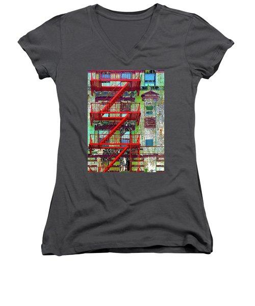 Women's V-Neck T-Shirt (Junior Cut) featuring the mixed media Fire by Tony Rubino