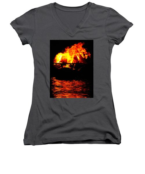Fire Water Illuminates The Night Women's V-Neck