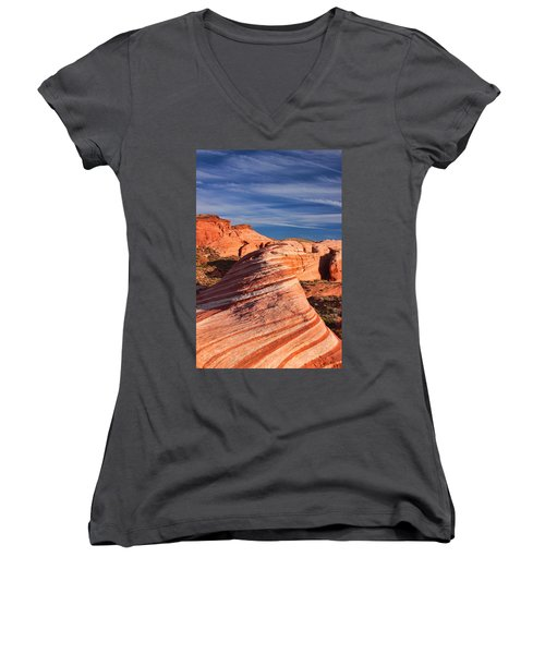 Women's V-Neck T-Shirt (Junior Cut) featuring the photograph Fire Wave by Tammy Espino