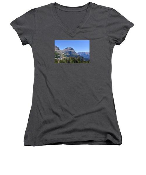 Fire Within Glacier National Park Women's V-Neck T-Shirt (Junior Cut) by Dacia Doroff