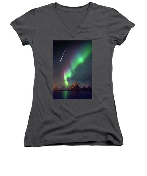 Fireball In The Aurora Women's V-Neck T-Shirt (Junior Cut) by Alex Conu
