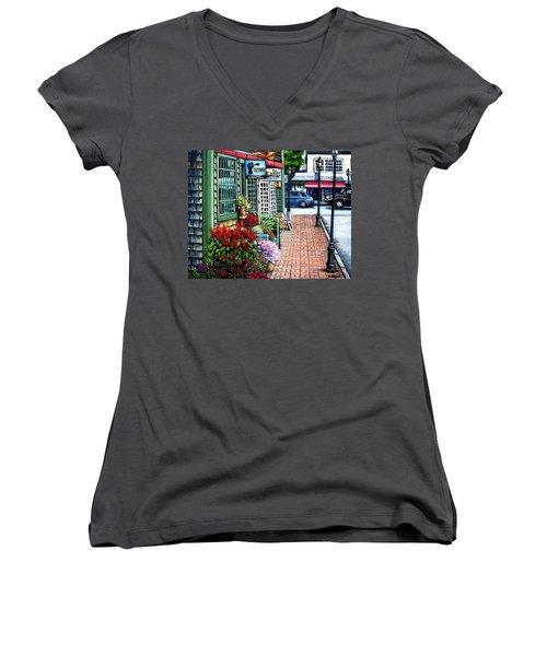 Firefly Lane Bar Harbor Maine Women's V-Neck T-Shirt
