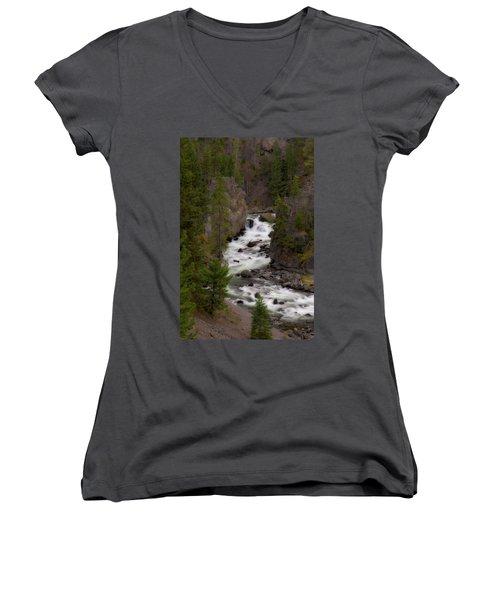 Women's V-Neck T-Shirt (Junior Cut) featuring the photograph Firehole Canyon by Steve Stuller
