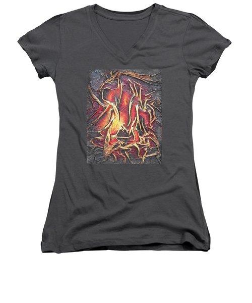 Firelight Women's V-Neck T-Shirt (Junior Cut) by Angela Stout