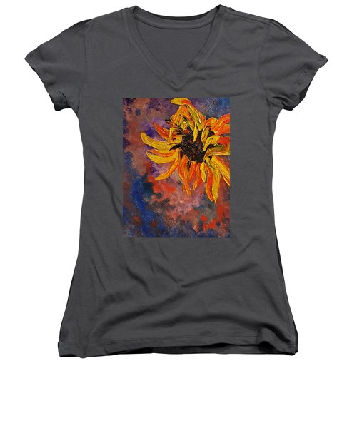 Firespace Flower  27 Women's V-Neck (Athletic Fit)