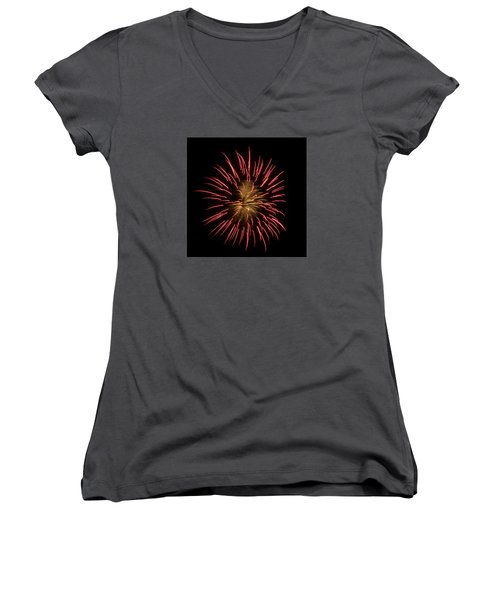 Fireworks 2 Women's V-Neck T-Shirt (Junior Cut) by Ellery Russell
