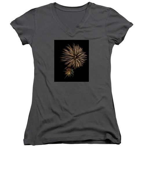Fireworks 4 Women's V-Neck T-Shirt (Junior Cut) by Ellery Russell