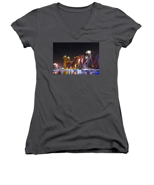 Women's V-Neck T-Shirt (Junior Cut) featuring the photograph Fireworks Along The Love River In Taiwan by Yali Shi
