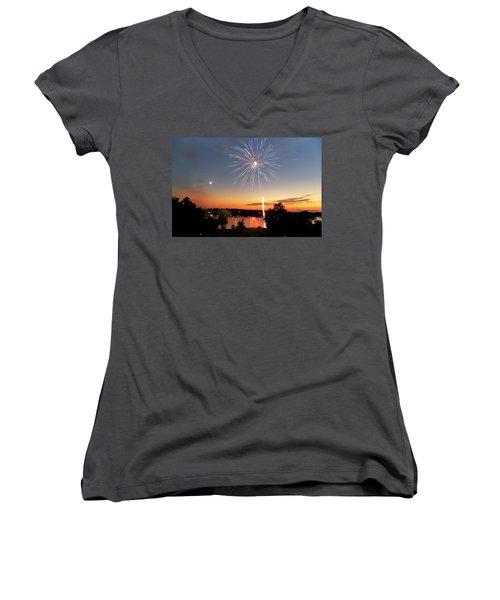 Fireworks And Sunset Women's V-Neck
