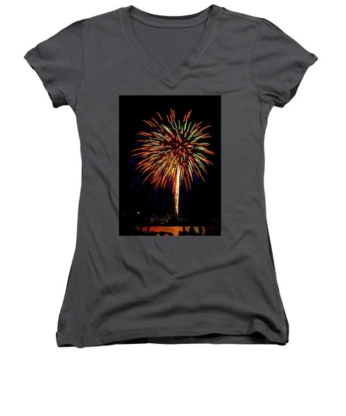 Women's V-Neck T-Shirt (Junior Cut) featuring the photograph Fireworks by Bill Barber