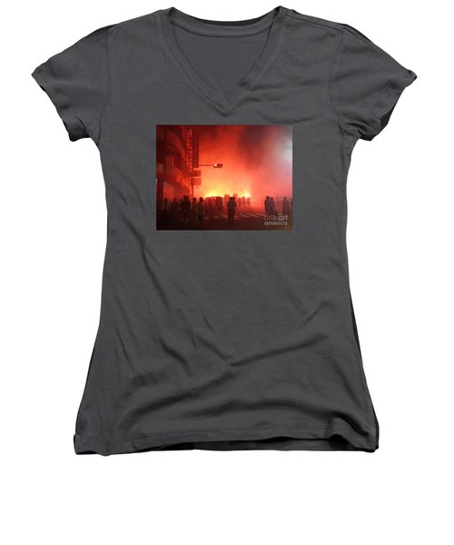 Women's V-Neck T-Shirt (Junior Cut) featuring the photograph Fireworks During A Temple Procession by Yali Shi