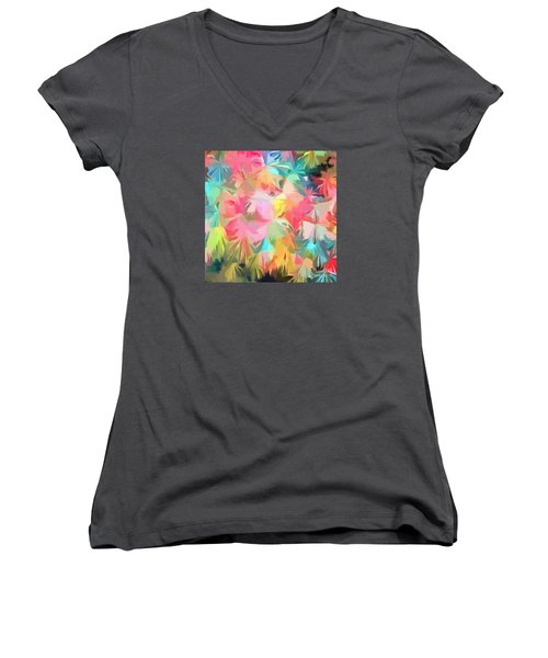 Fireworks Floral Abstract Square Women's V-Neck T-Shirt (Junior Cut) by Edward Fielding