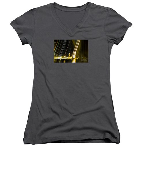 fireworks in Port of Malaga Women's V-Neck T-Shirt (Junior Cut) by Perry Van Munster