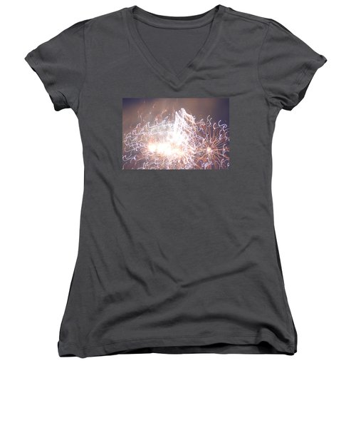 Fireworks In The Park 6 Women's V-Neck T-Shirt (Junior Cut) by Gary Baird