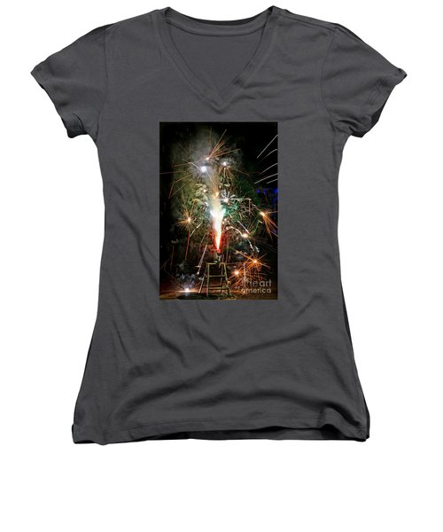 Fireworks Women's V-Neck T-Shirt (Junior Cut) by Vivian Krug Cotton