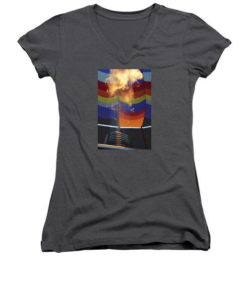 Women's V-Neck T-Shirt (Junior Cut) featuring the photograph Firing Up by Linda Geiger