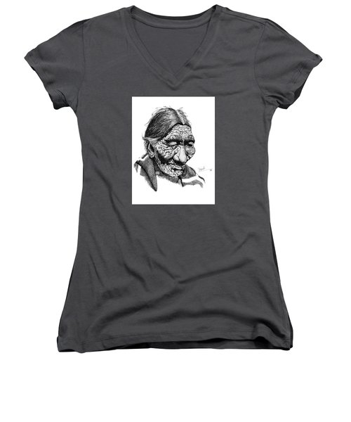 First 100 Years Women's V-Neck T-Shirt (Junior Cut) by Lawrence Tripoli