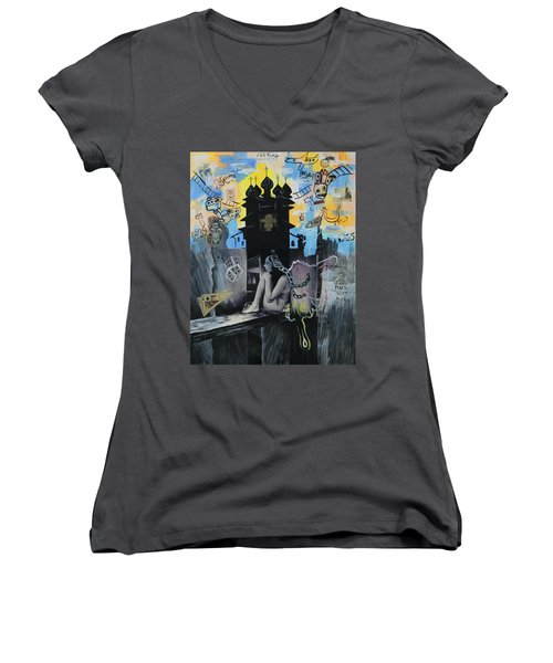First Butterfly Women's V-Neck T-Shirt (Junior Cut) by Yelena Tylkina