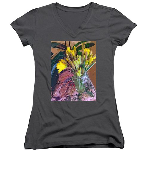 First Daffodils Women's V-Neck T-Shirt (Junior Cut) by Alexis Rotella