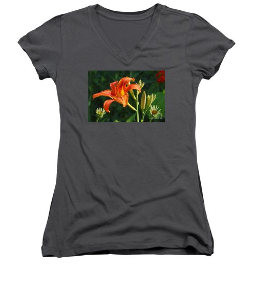 First Flower On This Lily Plant Women's V-Neck