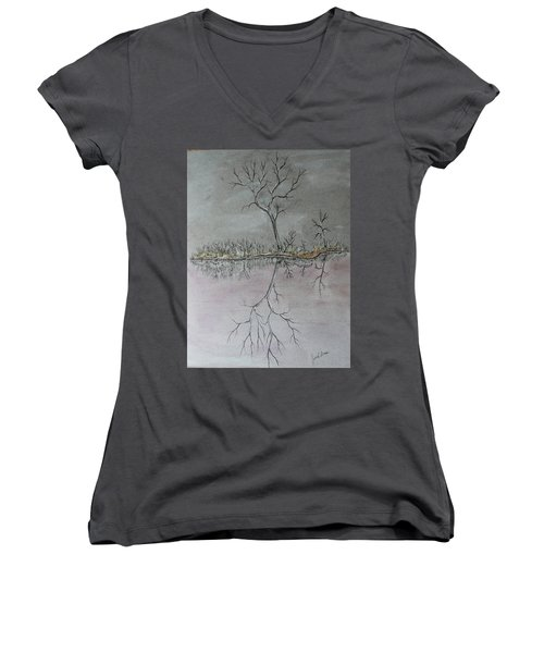 Women's V-Neck T-Shirt (Junior Cut) featuring the drawing First Frost by Jack G Brauer