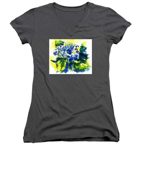 First Hydrangea Women's V-Neck (Athletic Fit)