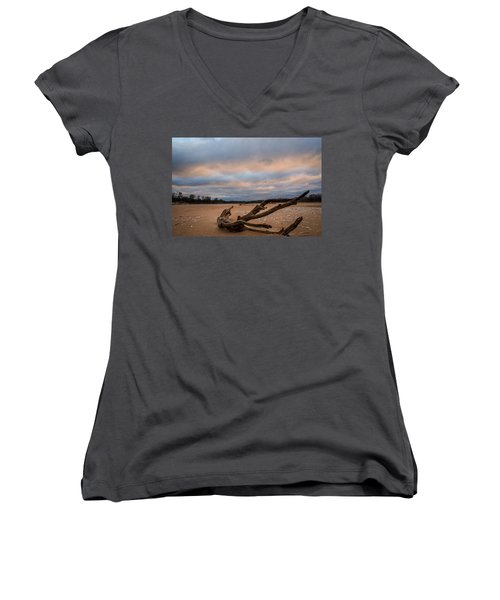 First Light On The Kaw Women's V-Neck