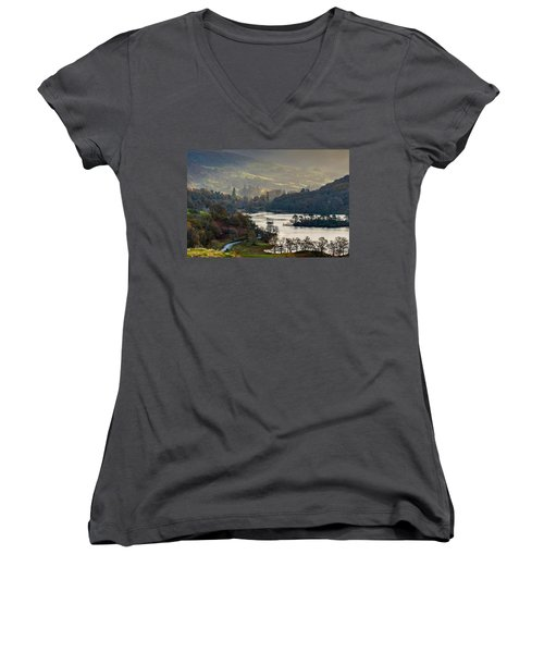 First Light Over Rydal Water In The Lake District Women's V-Neck