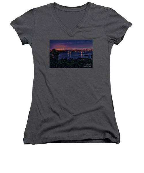 First Moonset Of 2018 Women's V-Neck (Athletic Fit)