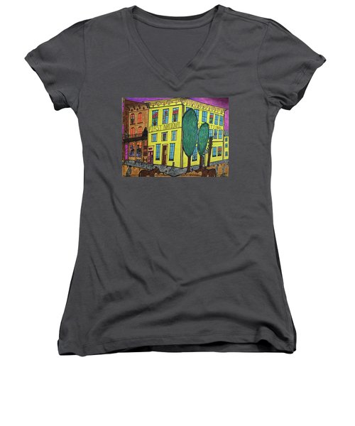 Women's V-Neck T-Shirt (Junior Cut) featuring the painting First National Hotel. Historic Menominee Art. by Jonathon Hansen