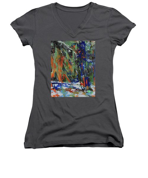 Women's V-Neck T-Shirt featuring the painting First Snow Over Tenaya Creek by Walter Fahmy