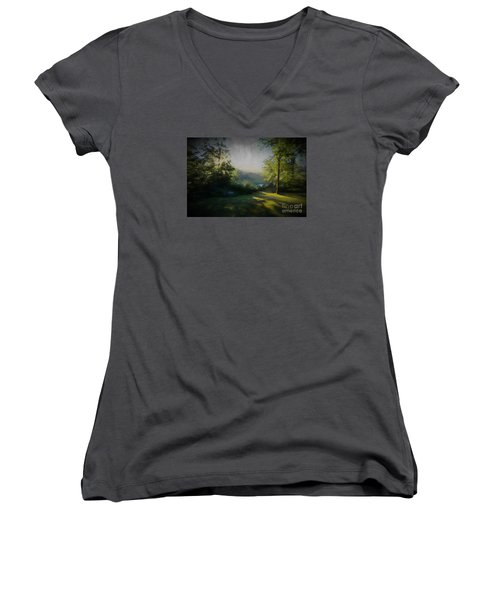 Women's V-Neck T-Shirt (Junior Cut) featuring the painting First Sun by Mim White