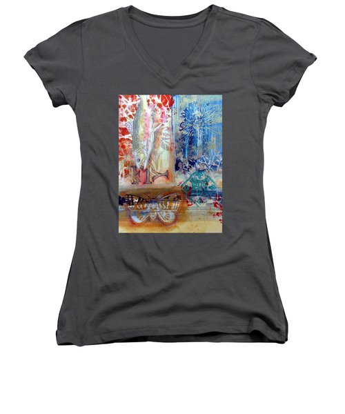 Women's V-Neck featuring the mixed media Fish Collage #1 by Rose Legge
