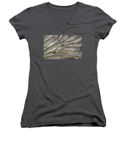 Fish Eyes Women's V-Neck T-Shirt (Junior Cut) by Joe Bonita
