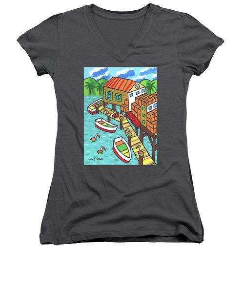 Fish House-cedar Key Women's V-Neck T-Shirt