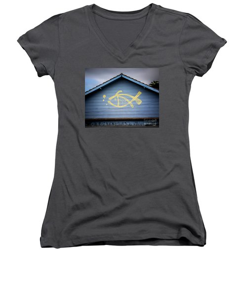 Women's V-Neck T-Shirt (Junior Cut) featuring the photograph Fish House by Perry Webster