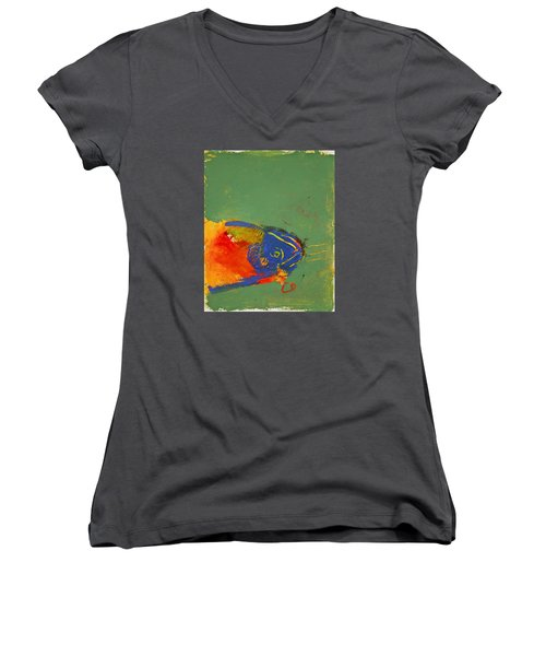 Fish Pondering The Anomaly Of Mans Anamnesis Women's V-Neck T-Shirt (Junior Cut) by Cliff Spohn