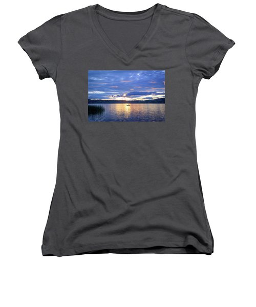 Fisherman Heading Home Women's V-Neck T-Shirt (Junior Cut) by Keith Boone